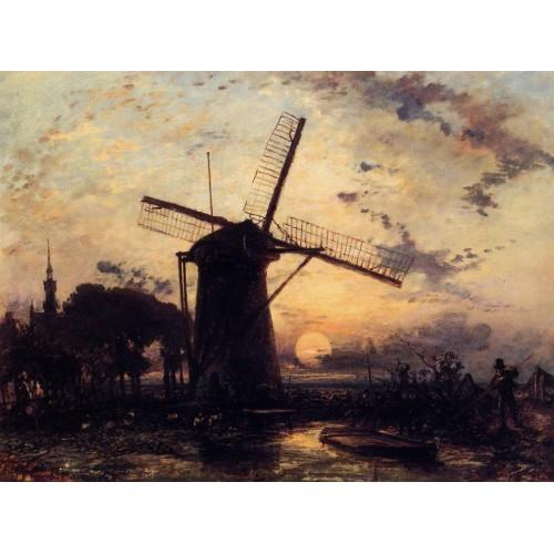 Boatman by a Windmill at Sundown