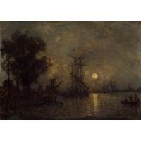 Holandaise Landscape with Docked Boat