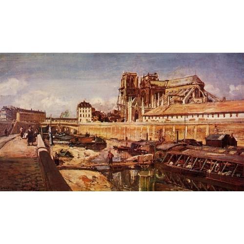 Notre Dame de Paris Seen from the Pont de L'Archeveche