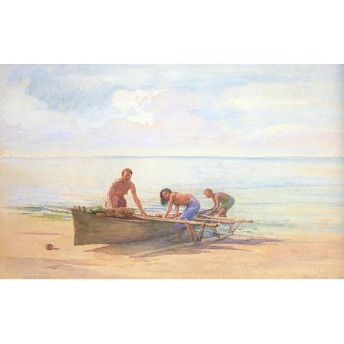 Women drawing up a Canoe