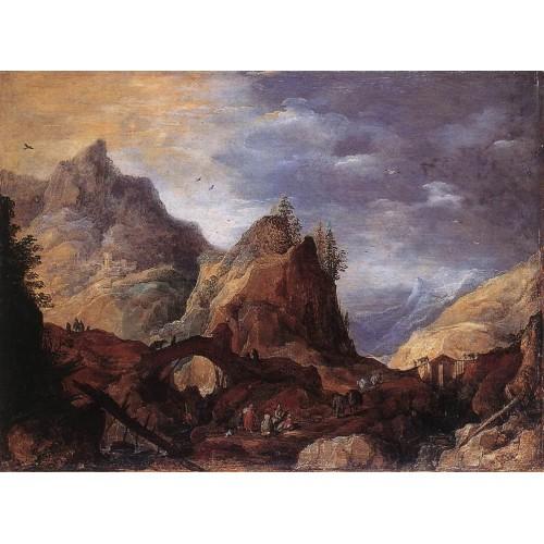 Mountain Scene with Bridges