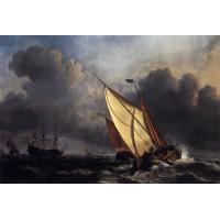 Dutch fishing boats in a storm
