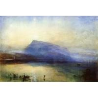 The blue rigi lake of lucerne sunrise