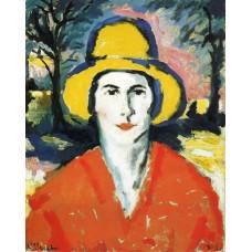 Portrait of woman in yellow hat 1930