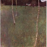 Farmhouses with birch trees