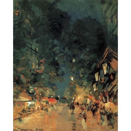 Nice street at night 1909