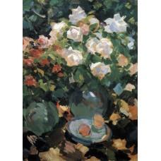 Roses in blue jugs 1917