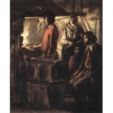 Blacksmith at His Forge