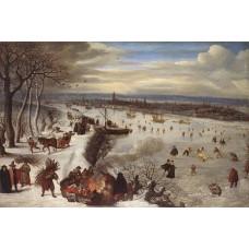 View of Antwerp with the Frozen Schelde
