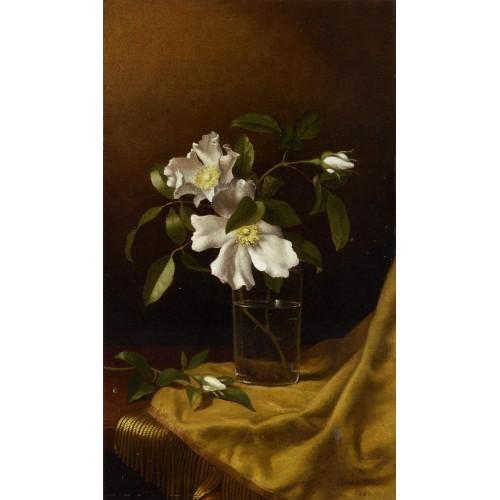 Cherokee Roses in a Glass on Gold Velvet Plush