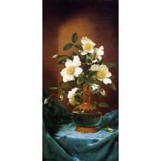 White Cherokee Roses in a Salamander Vase