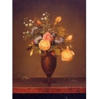 Wildflowers in a Brown Vase