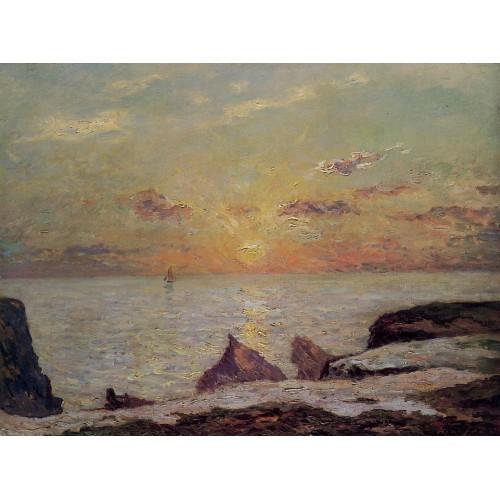 On the Cliffs of Belle Isle on Mer Sunset