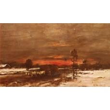 A Winter Landscape at Sunset