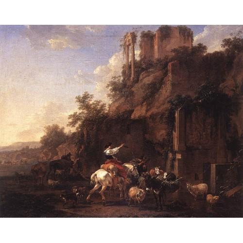 Rocky Landscape with Antique Ruins