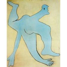 A blue acrobat
