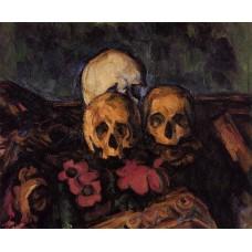 Three Skulls on a Patterned Carpet