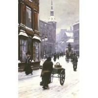 A Street Scene In Winter Copenhagen