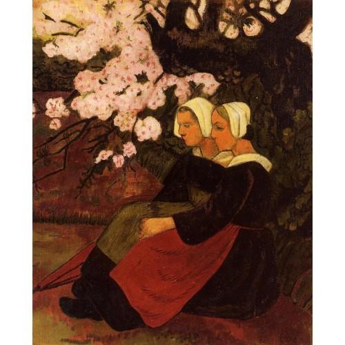 Two Breton Women under a Flowering Apple Tree