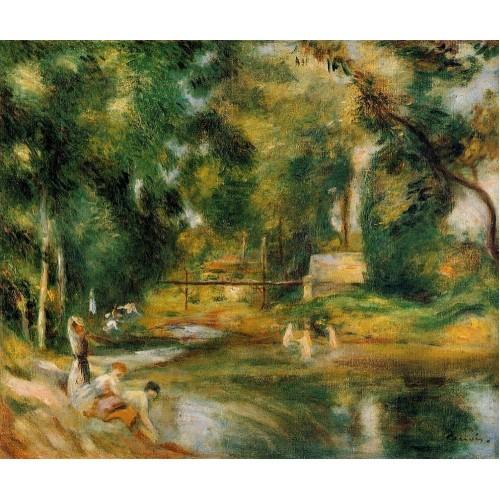 Essoyes Landscape Washerwomen and Bathers