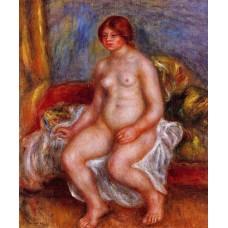 Nude Woman on Green Cushions