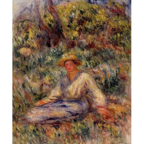 Woman in Blue in a Landscape