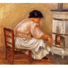 Woman Stoking a Stove
