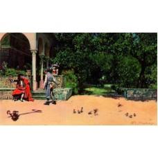 Raimundo Madrazo Escena de casacon en los jardines del Alcazar de Sevilla