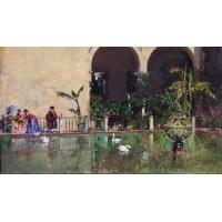Raimundo Madrazo Estanque en los jardines del Real Alcazar de Sevilla