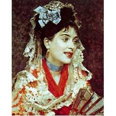 Raimundo Madrazo Retrato de dama con abanico