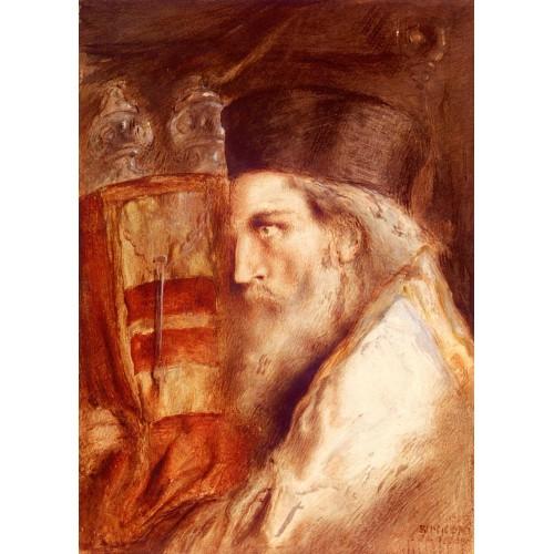 A Rabbi Holding The Torah