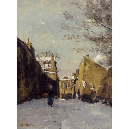 Street in Montmartre Snow Effect