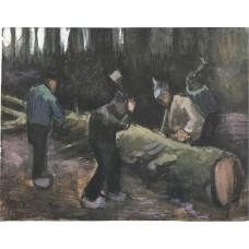 Four men cutting wood