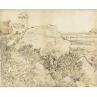 Landschap bij de abdij van montmajour te arles