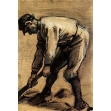 Man breaking up the soil