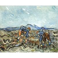 Peasants lifting potatoes