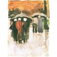 Scheveningen women and other people under umbrellas