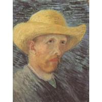 Self portrait with straw hat 4