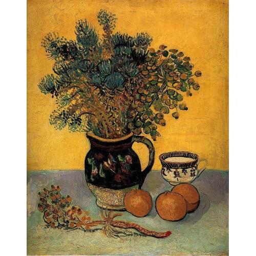 Still Life Majolica Jar with Wild Flowers