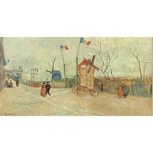 Street Scene in Montmartre Le Moulin a Poivre