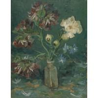Vase with myosotis and peonies