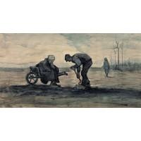 Weed burner sitting on a wheelbarrow with his wife