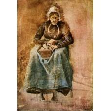 Woman grinding coffee