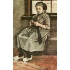 Woman mending stockings