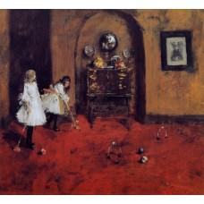 Children Playing Parlor Croquet