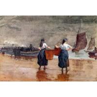 Fishergirls on the Beach Tynemouth