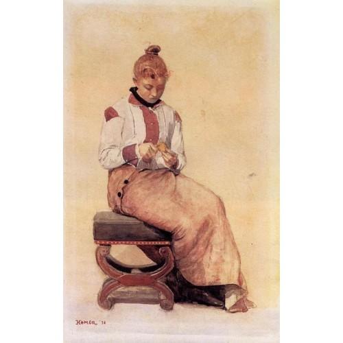 Woman Peeling a Lemon