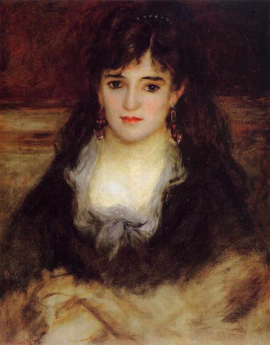 Portrait of a woman nini fish face renoir oil for Auguste renoir